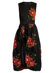 Simone Rocha Floral Cloque Gathered Dress Black Pink