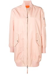Red Valentino Love You Longline Bomber Jacket Pink