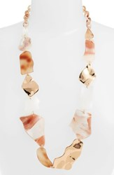 Stella Ruby Mixed Shape Long Link Necklace White