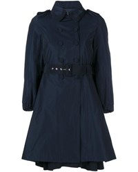 Moncler Flared Trench Coat Navy Blue