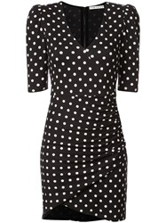 Alice Olivia Polka Dot Ruched Short Dress Black