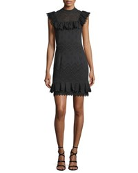 Ella Moss Justina Sleeveless Perforated Ruffled Dress Black