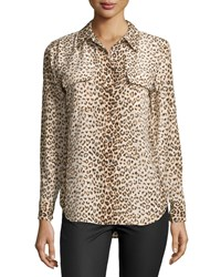 Equipment Long Sleeve Leopard Print Blouse Natural Multi