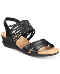 Impo Gamila Stretch Embellished Wedge Sandals Black