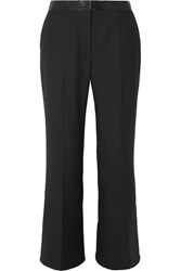 Elizabeth And James Mira Cropped Satin Trimmed Twill Flared Pants Black