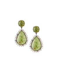 Bavna Pale Green Sapphire Pear Drop Earrings