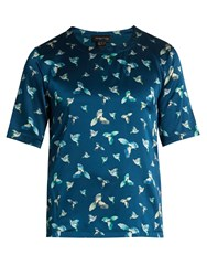 Meng Hummingbird Print Stretch Silk Satin T Shirt Blue Multi
