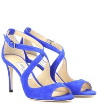 Jimmy Choo Emily 85 Suede Sandals Blue