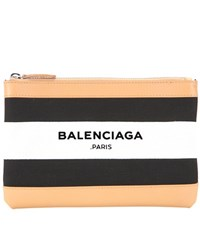 Balenciaga Navy Clip Small Leather Trimmed Printed Clutch Black