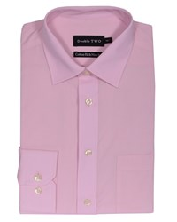 Double Two Men's Non Iron Poplin Long Sleeve Shirt Salmon