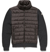 Moncler Quilted Wool Blend And Shell Down Jacket Gray