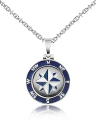 Forzieri Stainless Steel Windrose Pendant Necklace Silver