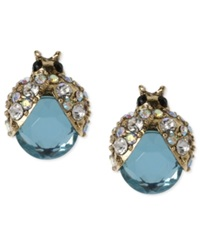 Betsey Johnson Gold Tone Blue Glass Crystal Bug Stud Earrings