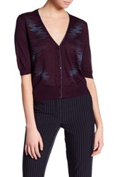 Lafayette 148 New York Elbow Sleeve Cropped Silk Cardigan Purple