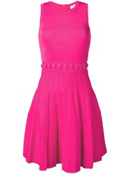 Michael Michael Kors Lace Up Waist Midi Dress Electricpink