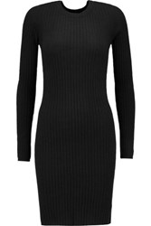 Autumn Cashmere Ribbed Mini Dress Black