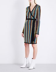 Diane Von Furstenberg Knitted Wool Blend Wrap Dress Bodin Stripe Multi