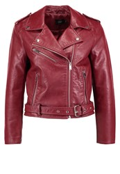 Only Onlclara Faux Leather Jacket Syrah Dark Red