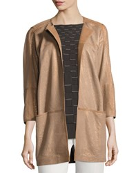Lafayette 148 New York Maureen Perforated Leather Jacket Bronze