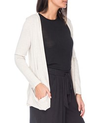 B Collection By Bobeau Solid Open Front Cardigan Oatmeal