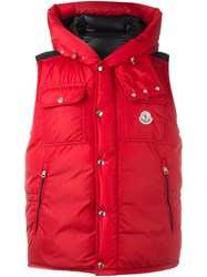 Moncler Sleeveless Hooded Gilet Red