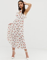 Fashion Union Midi Dress With Pleated Skirt In Floral White