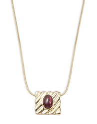 House Of Harlow Stone Accented Square Pendant Necklace Purple