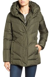 Larry Levine Women's Pillow Collar Quilted Coat Loden