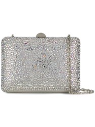 Rodo Crystal Embellished Box Clutch White