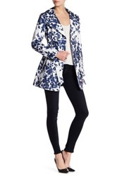 Jessica Simpson Floral Print Trench Coat Blue