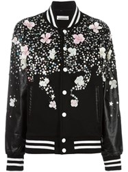 Night Market Floral Print Bomber Jacket Black