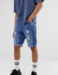 Only And Sons Abrasion Detail Denim Shorts In Mid Blue