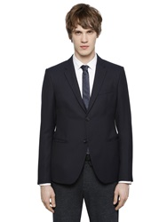 Emporio Armani Textured Virgin Wool Jacket Navy