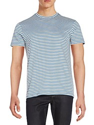 Saks Fifth Avenue Striped Cotton Tee Blue Mirage