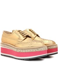 Prada Wingtip Leather Brogues Gold