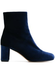 Maryam Nassir Zadeh Zipped Ankle Boots Leather Velvet Blue