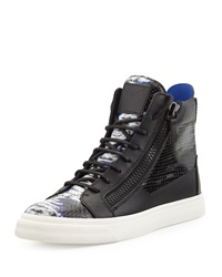 Giuseppe Zanotti Tie Dye Print High Top Sneaker Black Blue White