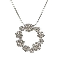 Nina B Circle Of Matte Roses Pendant Necklace Silver