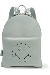 Anya Hindmarch Smiley Perforated Leather Backpack Light Blue