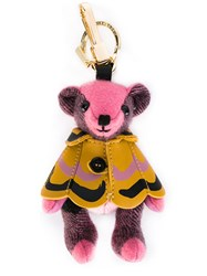 Burberry Bear Keyring Women Calf Leather Polyamide Polyester Cashmere One Size Pink Purple
