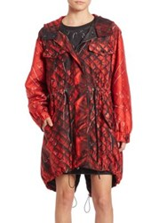 Moschino Faux Quilted Parka Red