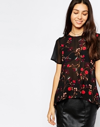 Influence Tapestry Print Top With Contrast Sleeves Blackmulti