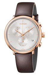 Calvin Klein High Noon Chronograph Leather Strap Watch 43Mm Brown Silver Rose Gold