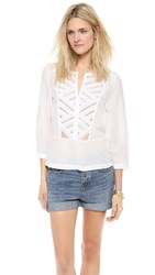 Twelfth St. By Cynthia Vincent Lace Bib Blouse White