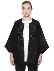 Marina Rinaldi Embellished Wool And Mohair Tweed Coat