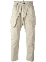 Dsquared2 Elasticated Waist Cargo Trousers Nude Neutrals