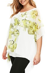 Evans Plus Size Boutique Ivory Lime Overlay Top