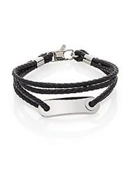 Lotus Multi Strand Cord Leather And Stainless Steel Bracelet Black Silver
