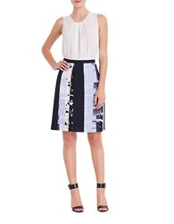 Ellen Tracy Printed Colorblock Skirt Blue