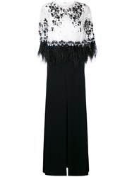 Talbot Runhof Embellished Evening Gown Women Silk Feather Down Polyester Triacetate 34 Black